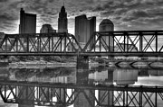 Kreuz Framed Prints - Columbus Ohio Downtown BW Framed Print by J M L Patty