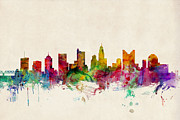 Urban Watercolour Prints - Columbus Ohio Skyline Print by Michael Tompsett