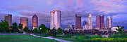 Columbus Posters - Columbus Skyline at Dusk Sunset Color Panorama Ohio Poster by Jon Holiday