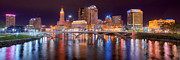 Columbus Framed Prints - Columbus Skyline at Night Color Panorama Ohio Framed Print by Jon Holiday
