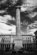 Marcus Aurelius Posters - Column of Marcus Aurelius topped by bronze statue of St Paul in Piazza Colonna Rome Lazio Italy Poster by Joe Fox