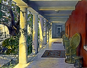 Great Outdoors Paintings - Columns and Chairs by Terry Reynoldson