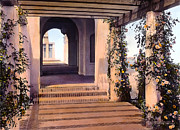 Estate Photo Prints - Columns and Flowers Print by Terry Reynoldson