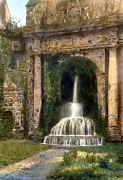Mansion Photo Framed Prints - Columns and Waterfall Framed Print by Terry Reynoldson
