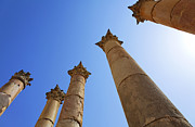 Roman Ruins Posters - Columns at the Temple of Artemis at Jerash Jordan Poster by Robert Preston