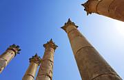 Columns At The Temple Of Artemis At Jerash Jordan Print by Robert Preston
