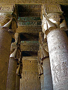 Temple Of Hathor Metal Prints - Columns in Temple of Hathor in Dendera Metal Print by Ruth Hager
