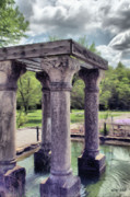 Grey Digital Art Framed Prints - Columns in the Water Framed Print by Jeff Kolker