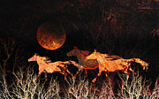 Photomanipulation Photo Prints - Comanche Moon Print by Karen Slagle