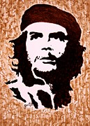 Pop Icon Paintings - Comandante Che Guevara original coffee painting by Georgeta Blanaru