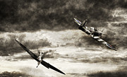 Dogfight Digital Art - Combat Spitfires by Peter Chilelli