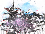 Etsy Posters - Combination No.32 Spring time Mt.Fuji and Pagoda Poster by Sumiyo Toribe