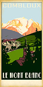 Skiing Poster Framed Prints - Combloux Framed Print by Jim Sanders