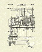 Combustion Posters - Combustion Engine 1934 Patent Art Poster by Prior Art Design