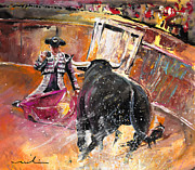 Bullfight Paintings - Come if You Dare 02 by Miki De Goodaboom