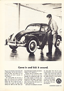 Volkswagen Beetle Posters - Come In And Kick It Around Poster by Nomad Art And  Design