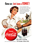 Tennis Digital Art Metal Prints - Come Lets Have a Coke Metal Print by Nomad Art And  Design
