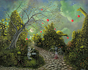 Fantasy Tree Art Paintings - Come One Come All. Fantasy Landscape Circus Fairytale Art By Philippe Fernandez  by Philippe Fernandez