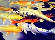 Koi Painting Framed Prints - Come Together Framed Print by Robert Hooper