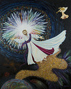 Angel With Star Framed Prints - Come With Me Framed Print by Julia Bowman