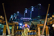 Baseball Bat Metal Prints - Comerica Park at Night  Metal Print by John McGraw