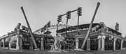 Baseball Bat Metal Prints - Comerica Park Black and White Metal Print by John McGraw