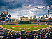 Detroit Tigers Posters - Comerica Park Poster by Cindy Lindow