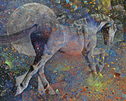 White Horses Mixed Media Prints - Comet Print by Betsy A Cutler East Coast Barrier Islands