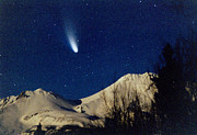 Hale-bopp Comet Framed Prints - Comet Hale Bopp Rising Over Mount Shasta 01 Framed Print by Patricia Sanders