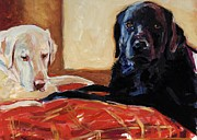 Yellow Labrador Retriever Paintings - Comfort and Joy by Molly Poole