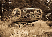 Combine Photos - Comgine Wheel in Sepia by Douglas Barnett