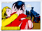 Red Nail Polish Posters - Comic Strip Kiss Poster by MGL Studio