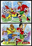 League Drawings Metal Prints - Comics about EUROFOOTBALL. First page. Metal Print by Vitaliy Shcherbak