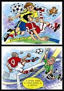 Football Pictures Prints - Comics about EUROFOOTBALL. Second page. Print by Vitaliy Shcherbak
