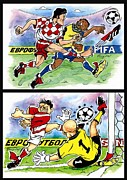League Drawings Prints - Comics about EUROFOOTBALL. Third page. Print by Vitaliy Shcherbak