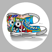 Super Man Digital Art - Comics Shoes 2 by Mark Ashkenazi