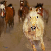 Horse Herd Photo Prints - Comin At Ya Print by Robert Albrecht