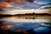 Lake Relections Prints - Coming of Darkness Print by Deb Henman