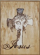 Jesus Pyrography Framed Prints - Coming out Framed Print by Alicia Riddle
