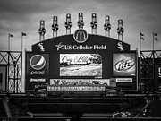 Black And White Baseball Posters - Comiskey Park U.S. Cellular Field Scoreboard in Chicago Poster by Paul Velgos