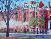 Dianne Panarelli Miller Prints - Comm Ave Magnolias Print by Dianne Panarelli Miller