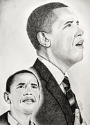 Barack Obama Drawings Metal Prints - Commander In Chief Metal Print by Timothy Gaddy