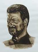 Enterprise Painting Prints - commander William Riker Star Trek TNG Print by Giulia Riva