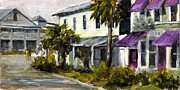 Purple Awnings Prints - Commerce and Avenue D Print by Susan Richardson