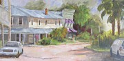 Purple Awnings Prints - Commerce Street Apalach Print by Susan Richardson