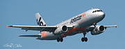 Jetstar Metal Prints - Commercial Aircraft at Sydney Airport Metal Print by Geoff Childs