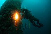 Diving Helmet Photo Posters - Commercial Diver at work Poster by Hagai Nativ