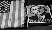 Barack Obama Framed Prints - COMMERCIALIZATION OF THE PRESIDENT OF THE UNITED STATES in BALCK AND WHITE Framed Print by Rob Hans