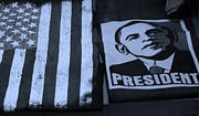 President Obama Prints - COMMERCIALIZATION OF THE PRESIDENT OF THE UNITED STATES in CYAN Print by Rob Hans