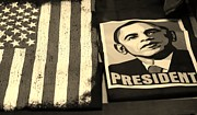 President Obama Prints - COMMERCIALIZATION OF THE PRESIDENT OF THE UNITED STATES in SEPIA Print by Rob Hans